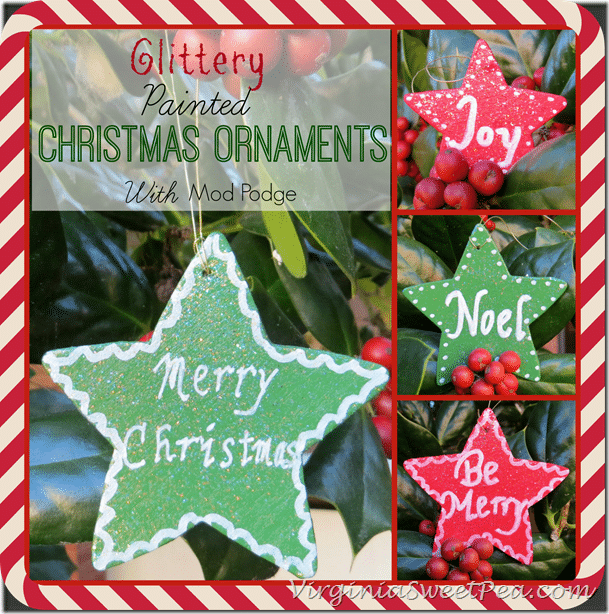 Glittery Painted Christmas Ornaments with Mod Podge by virginiasweetpea.com