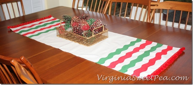 Red and Green Striped Drop Cloth Table Runner for Christmas