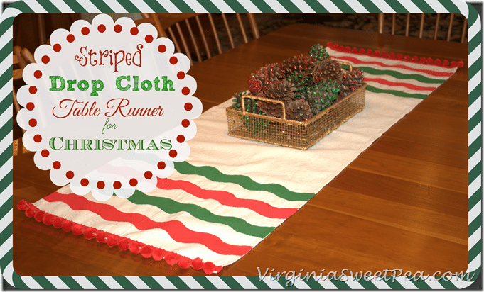 Striped Drop Cloth Table Runner for Christmas by virginiasweetpea.com
