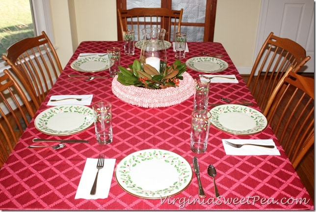 Christmas Table with Peppermint Candy Centerpiece