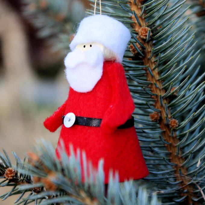 Clothespin Santa Christmas Ornament