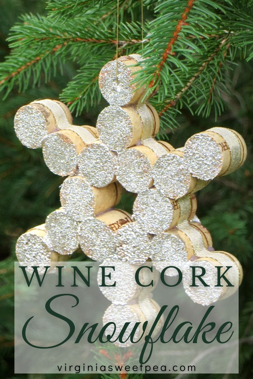 Snowflake Christmas Ornament made with cut pieces of wine cork.