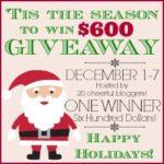 """Tis the Season for Cheer"" $600 Visa Gift Card Giveaway"