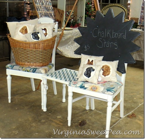 Dog Pillows, Stars, and Chairs at Vintage Lynchburg Holiday Show