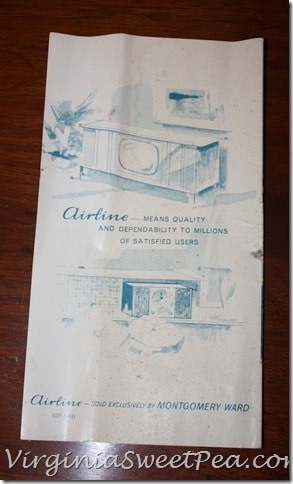 Back of Brochure for Montgomery Ward Console Stereo Cabinet