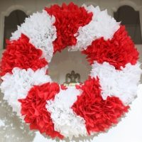 Red and White Chevron Wreath