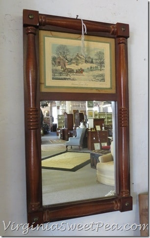 Mirror with Currior and Ives Print