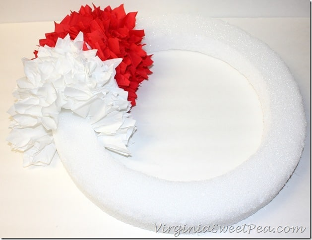 Red and White Layer for chevron wreath
