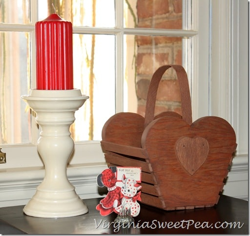 Vintage Valentine Card and Wooden Valentine Basket