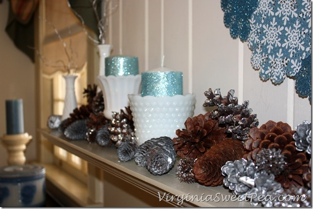 Glittered Candles on Winter Mantel