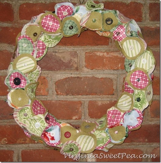 Burlap, Fabric and Button Wreath