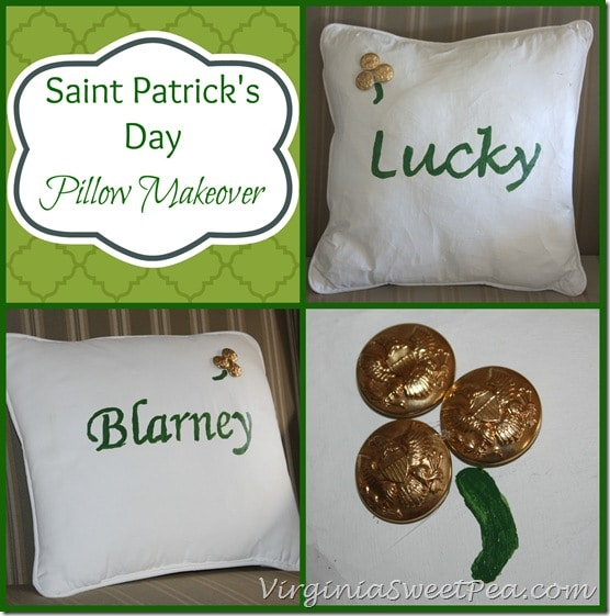 Saint Patrick's Day Pillow Makeover by virginiasweetpea.com