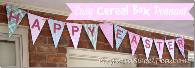 Easy Cereal Box Pennant by virginiasweetpea.com