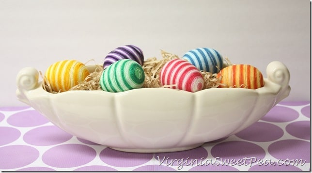 Striped Easter Eggs in McCoy Planter