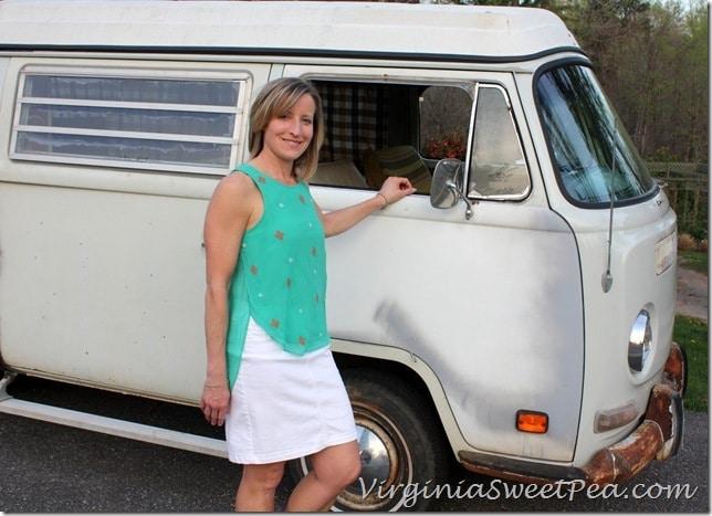 April Stitch Fix Top with Vintage VW Van