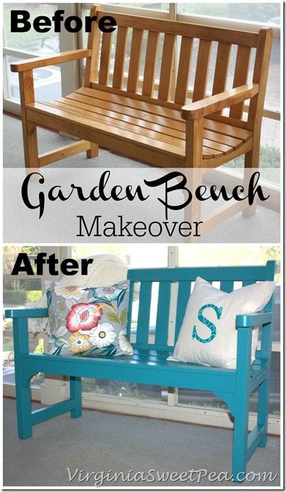 Garden Bench Makeover by virginiasweetpea.com