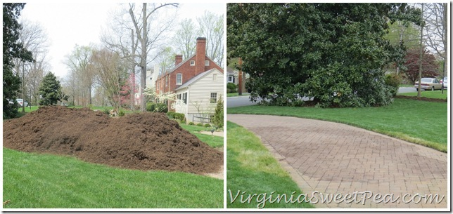 Spreading Mulch Before and After