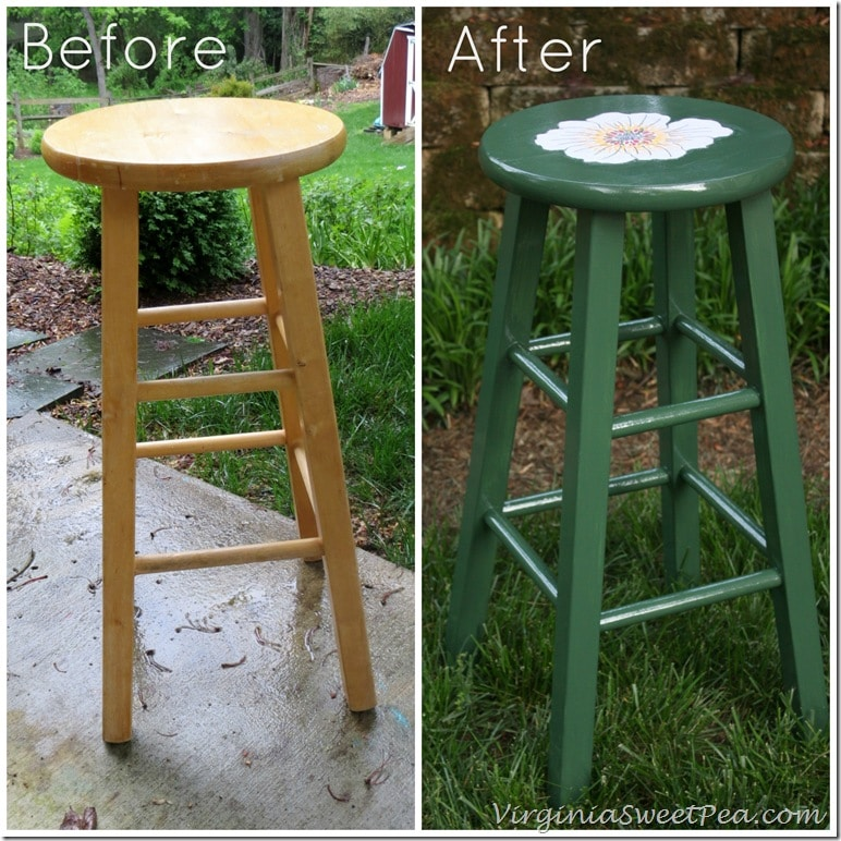 Floral Painted Bar Stool Before and After