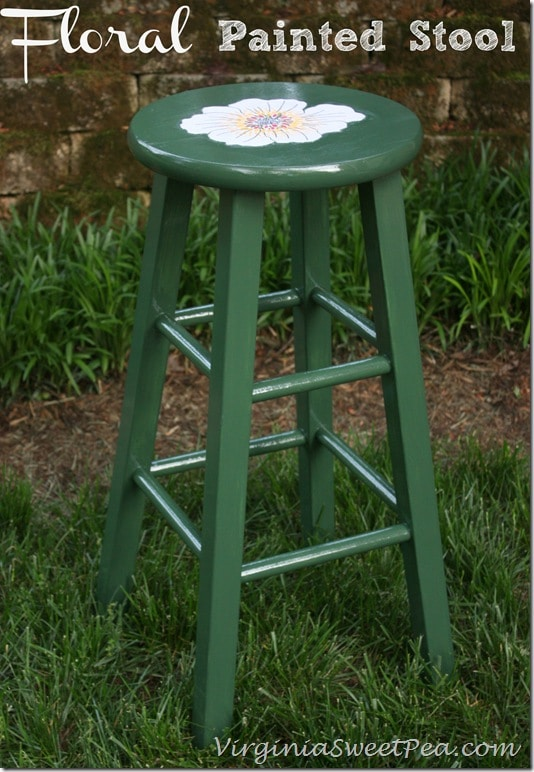 Floral Painted Stool by virginiasweetpea.com