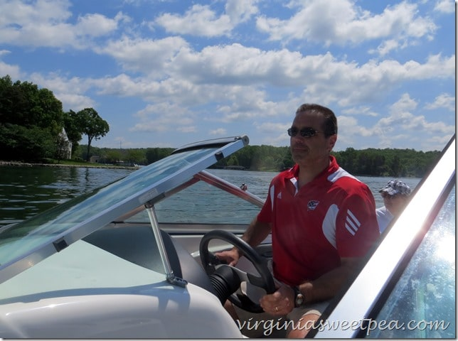 Mr. SP boating at Smith Mountain Lake