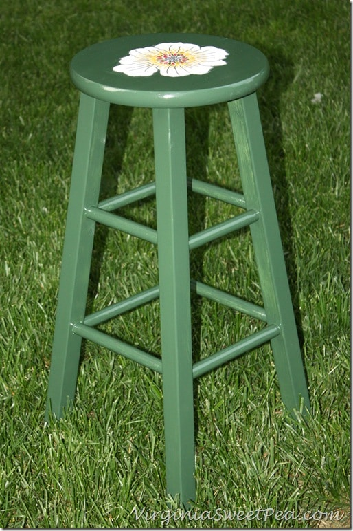 Painted Bar Stool with Flowers