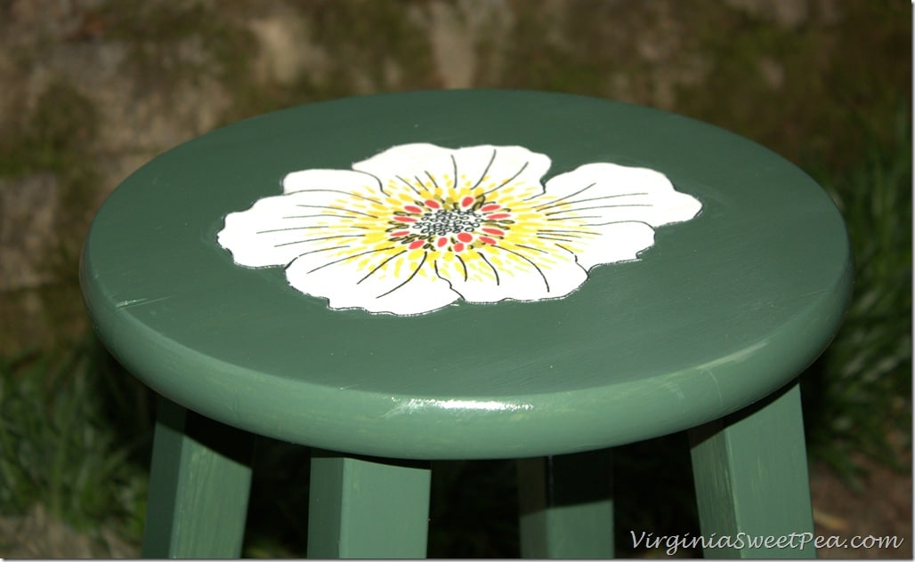 Painted Stool with Mod Podge Fabric Flower