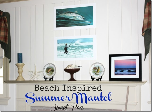 Beach Inspired Summer Mantel by virginiasweetpea.com