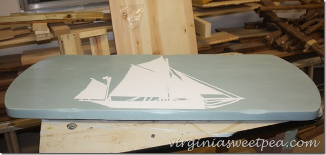 Boat Painted on Coffee Table