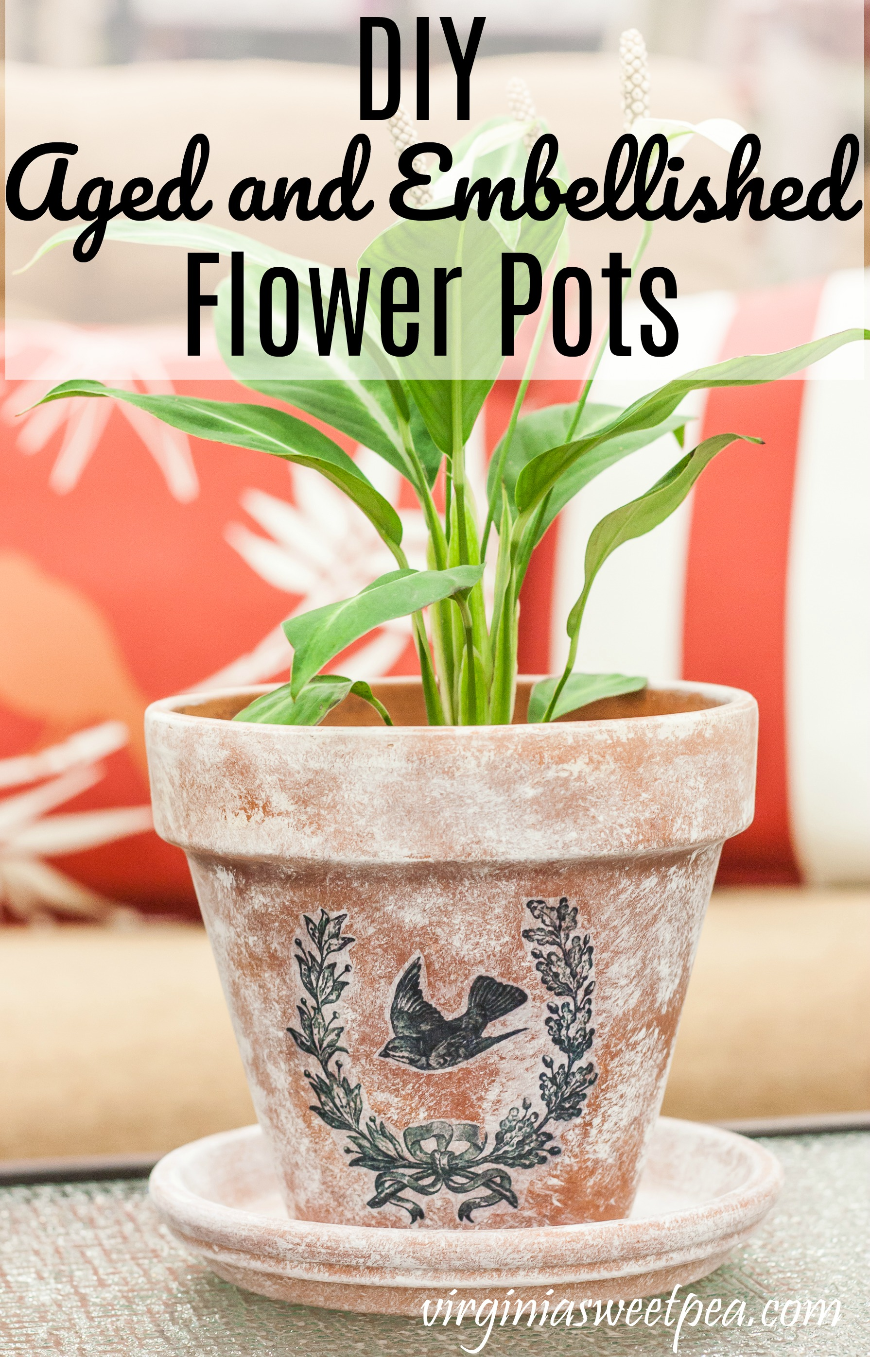 DIY Aged and Embellished Flower Pots - Learn how to paint a pot to make it look aged and also how to transfer an image to the pot.