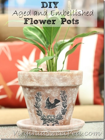 DIY Aged and Embellished Flower Pots