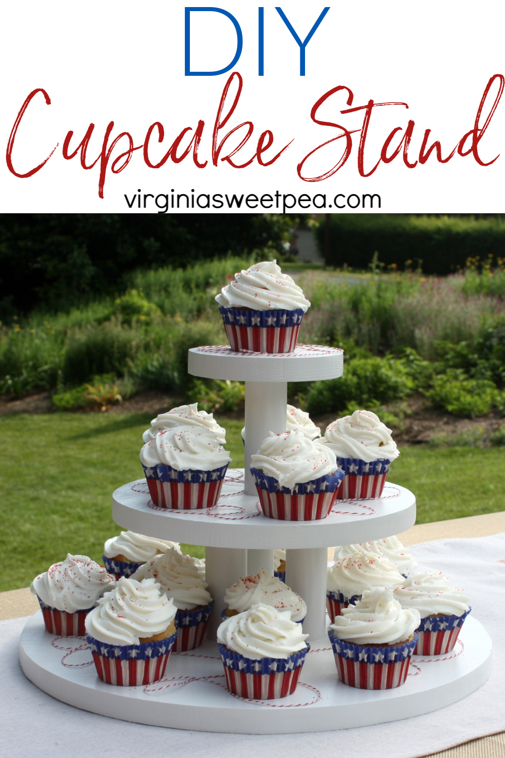 DIY Cupcake Stand - Learn how to make a cupcake stand to use to display cupcakes or other treats for your next party or special occasion. #woodworking #cupcakestand #diycupcakestand #cupcakedisplay #diycupcakedisplay via @spaula