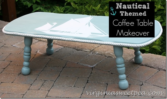 Nautical Themed Coffee Table Makeover by virginiasweetpea.com - Nautical Themed Coffee Table Makeover - Sweet Pea