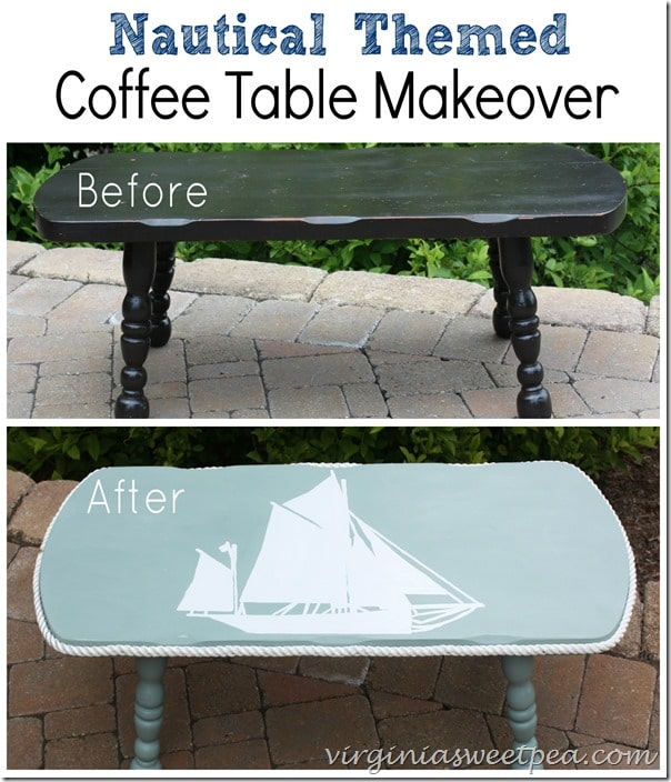 Nautical Themed Coffee Table Makeover Before and After by virginiasweetpea.com