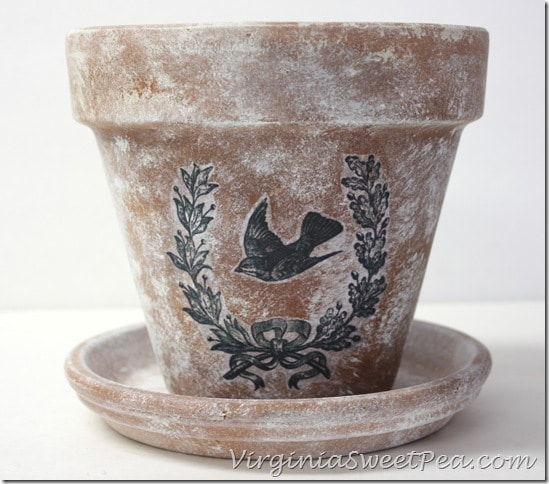 DIY Aged Pot with Transferred Stencil