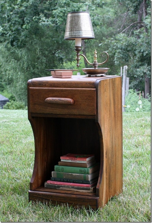Bedside Table with Vintage Lamp and Books