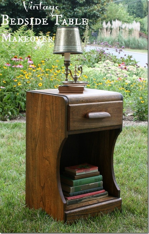 Vintage Bedside Table Makeover without Paint by virginiasweetpea