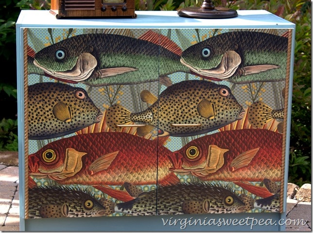 Fish Detail on Decoupaged Cabinet