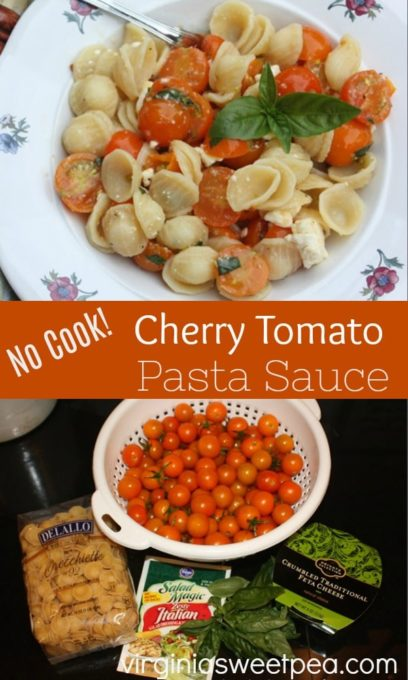 No Cook Cherry Tomato Pasta Sauce - Cook the pasta but not the sauce when you make this easy pasta recipe.  virginiasweetpea.com  #pasta #cherrytomato #pastarecipe