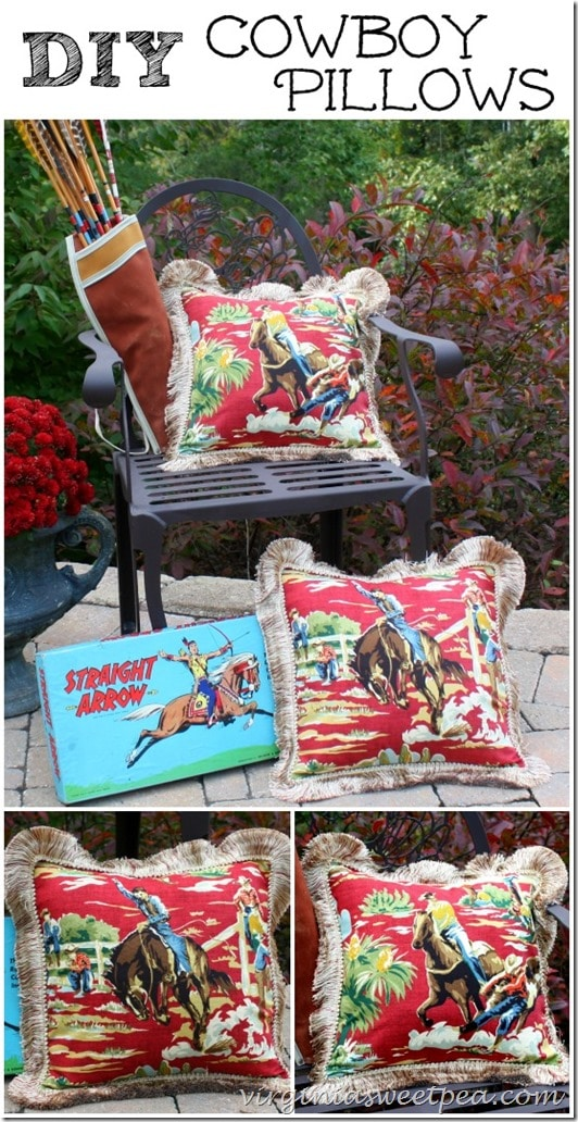 DIY Cowboy Themed Pillows by virginiasweetpea.com