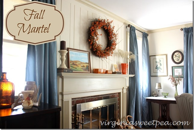 Fall Mantel and Living Room Decor by virginiasweetpea.com