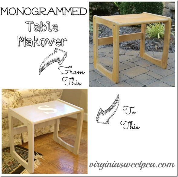 Monogrammed Table Makeover Before and After by virginiasweetpea.com