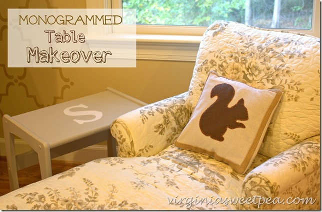 Monogrammed Table Makeover by virginiasweetpea.com
