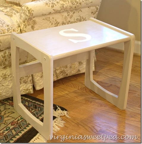 Monogrammed table makeover themed furniture day sweet pea for Furniture 5 letters word whizzle