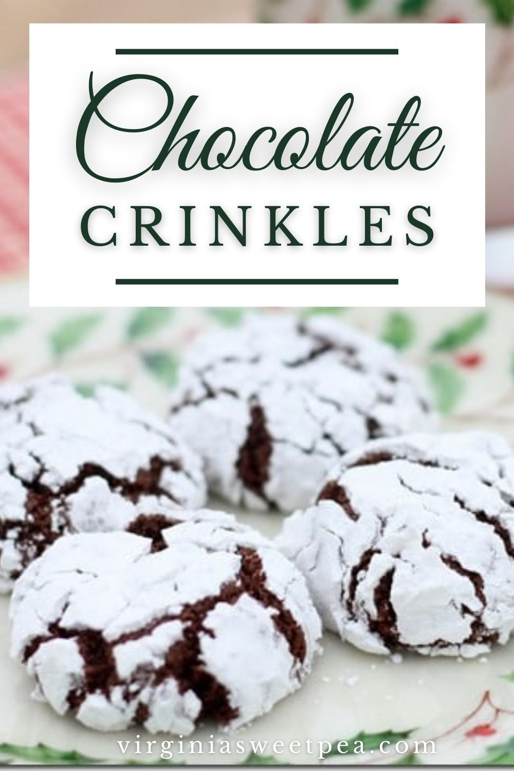 Chocolate Crinkles - This crunchy on the outside and chewy on the inside is a cookie that is a must on your Christmas cookie platter.  The recipe comes from a caterer famous in my town for her great food.  via @spaula