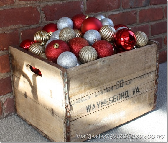 Christmas Balls in a Vintage Crate