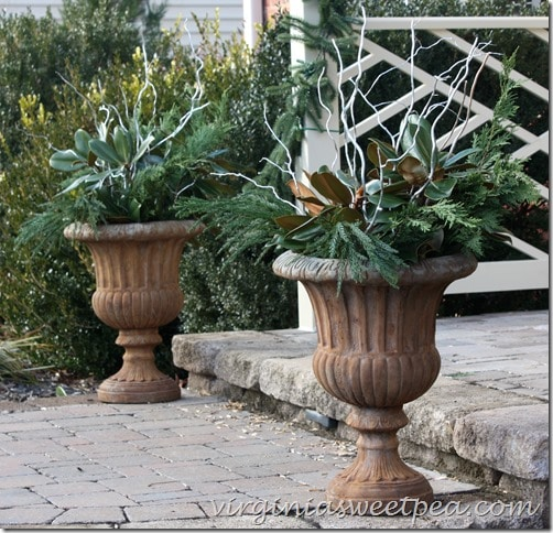 Christmas Urns on the Front Porch