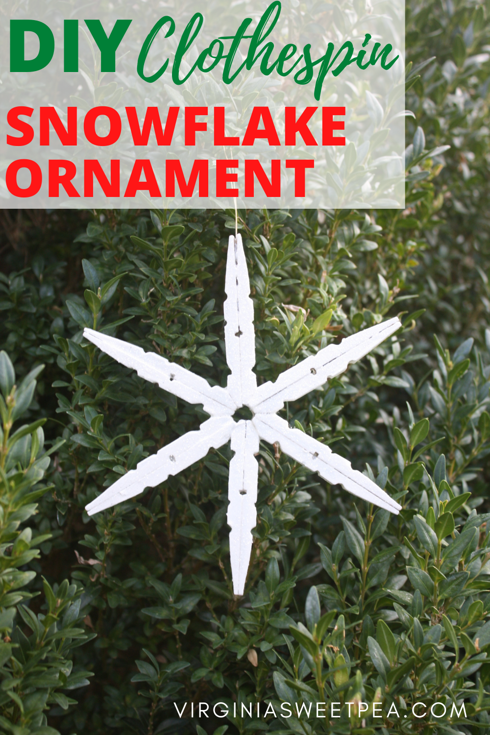 DIY Clothespin Snowflake Ornament - Learn how to make a clothespin snowflake ornament for your Christmas tree. This is an easy craft that is fun to make. via @spaula