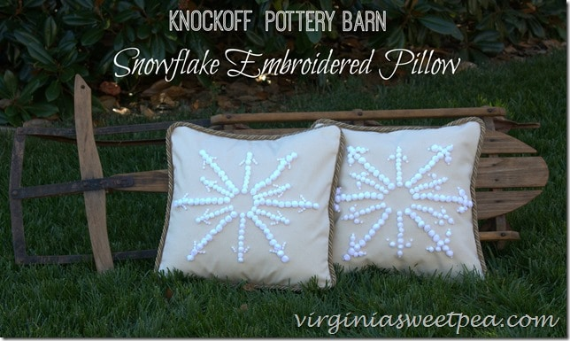 Knockoff Pottery Barn Snowflake Embroidered Pillow by virginiasweetpea.com