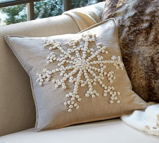 Knockoff Pottery Barn Snowflake Embroidered Pillow Sweet Pea