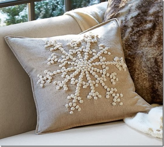 knockoff pottery barn snowflake embroidered pillow sweet pea. Black Bedroom Furniture Sets. Home Design Ideas